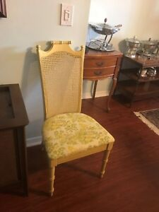 VINTAGE MIDCENTURY FAUX  BAMBOO , CHIPPENDALE STYLE CHINOISERIE  SIDE CHAIR CANE