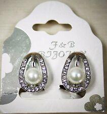 Boucles d'oreille à clip perle de verre nacré sur langue de strass 2 cm