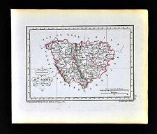 1841 Perrot France Map Departement de Haute Loire Le Puy Brioude Alegre Blesle