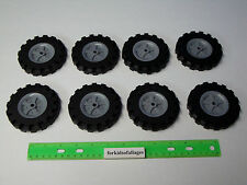 """KNEX WHEELS LOT 8 Large 3.5"""" Tires With Gray Pulleys / Hubs (3 1/2"""" Wheel) Parts"""