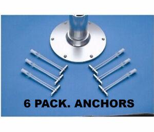 6 PACK Garelick 21026 Anchor Base Toggler SStell Bolt 1/4-20 Pedestal Seat Table