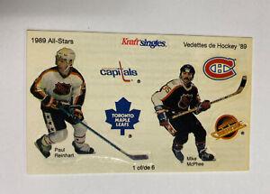 1989 Kraft Singles Canada Hockey All Stars Sticker Sheet #1 Reinhart & McPhee