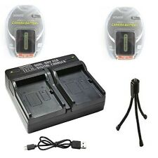 TWO 2X Batteries + Dual Bay USB Charger for Sony NP-FH30 NP-FH40 NP-FH50 NP-FH60
