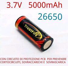 1x BATTERIA 26650 PROTETTA 5000 mAh LITIO TRUSTFIRE RICARICABILE 3.7V PCB LI-ION