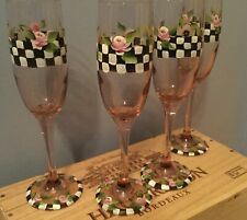 SET OF 4 HAND PAINTED ROSE COLORED CHAMPAGNE FLUTES (NEW)