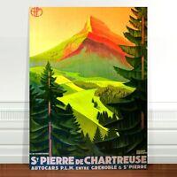 """Vintage Travel Poster Art CANVAS PRINT 16x12"""" St Pierre De Chartreuse Mountain"""