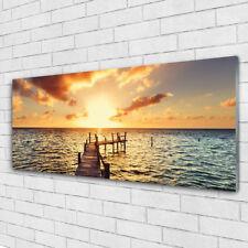 Glass print Wall art 125x50 Image Picture Sun Bridge Sea Architecture