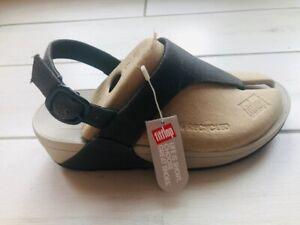 FitFlop Lulu Cross back strap Toe Post Women's Black sandals shoes UK size 6