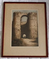 Antique Rare Signed Wilfrid Huggins Avila Wall Spain Framed Drawing Art 1800's