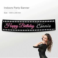 Personalised Happy Birthday Party Banner Canvas Fabric Diamond Decorations