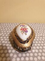 Vintage PM German Porcelain Cobalt Blue & Gold 4 Footed Lidded Trinket Box
