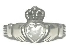 Vintage Sterling Silver Claddagh Clear Ring Size 8.2 St Patricks Day 2.5g Irish