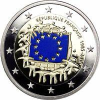 Frankreich 2 Euro 2015 Münze 30 Jahre Europaflagge in Farbe Polierte Platte