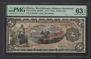 Scarce 1914 Mexico-Revolutionary,Gobierno Provisional 1 Peso Banknote PMG63 UNC