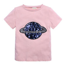 Sequins Children Short Sleeve T Shirts Plain Kids Cotton Tee Top UK 1-8Y Gift