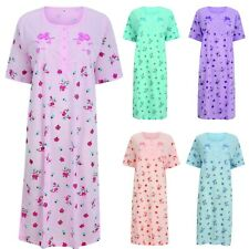 Nightdress Nightie Womens Cotton Blend Ladies Short Sleeve Button Floral Pattern