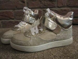 New UK 3 River Island Trainers Metallic Gold Glitter High TopLace Up Ankle Strap