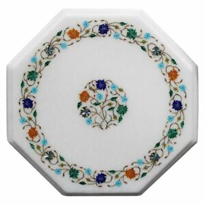 """12"""" Marble side Table Top Inlay art Pietra dura Floral Inlay Home Decor"""