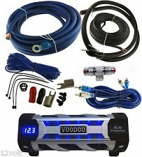 VOODOO Car Audio 5 FARAD Digital POWER Capacitor Blue Display + 4 Gauge amp kit