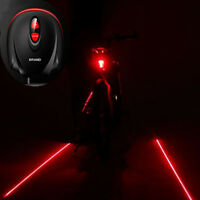 Bicycle 2 Laser Projector Red Lamps Cycling Bike Beam and 3 LED Rear Tail Lights