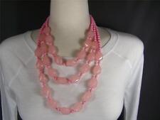 "Pink 3-strand layered bib beaded necklace earrings set 18 - 20"" long"