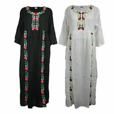 38de0174dc Women Ladies Maxi Dress Embroidery Floral Abaya Long Sleeve Kaftan Jilbab  19-488