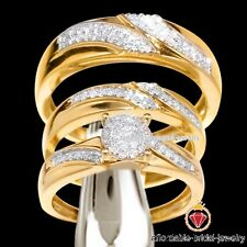 Yellow Gold Over LabDiamond Bridal Engagement Ring His Her Trio Wedding Band Set