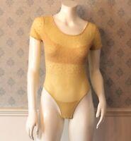 Vintage 1990s Krizia Designer Ivory Sheer Beaded Short Sleeve Bodysuit Size 42