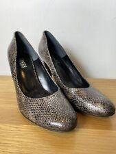 Jones Bootmaker Court Shoes Heeled Smart Snakeskin Size 41 7 Brown NEW