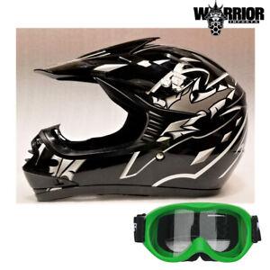 Youth Motocross Helmet  Black & Goggles Kids, XS to XL Aust Std, Dirt bike Quad