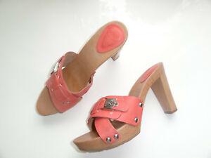 Dr. Scholl´s SCHOLL High Heels Pantoletten Clogs Gr. 42 NEU Leder Holz Schuhe