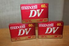 Lot of 3 MAXELL Mini DV Digital Video Cassette Tapes 60 Min Camcorder Blank NEW