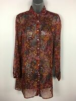BNWT WOMENS PAPAYA BURGUNDY MULTI FLORAL SHEER LONG TRANSLUCENT BLOUSE TOP UK 8