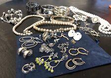 Lot of 29 Assorted Jewelry Earrings Bracelets Necklace Brooch Faux Pearl Misc