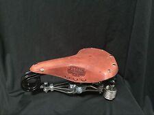 Real leath long spring bicycle saddle seat prewar tank bike seat