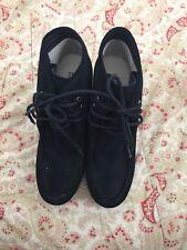 Michael Kors  Black Suede Ankle Boots Booties Wedge Heels Designer 8m