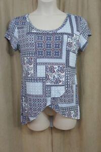 Ultra Flirt Juniors Top Sz L Blue Multi Color Patterened Shirt Short Sleeve
