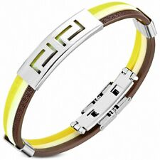 Bracelet Made of Rubber Yellow and Brown Plate Steel Rectangles