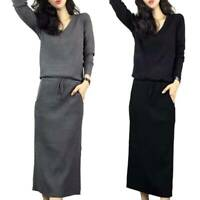 Womens Winter Knitted Sweater Midi Dress Long Sleeve Warm Party Cocktail Dresses