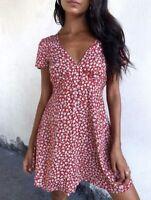 Motel Rocks Elara Tea Dress In Ditsy Rose Red Silver Size S BNWT