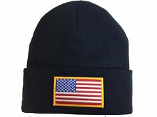 Custom Black Beanie with Embroidered American Flag Patch /Gold
