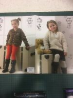 """King Cole Funky Felt 3766 Boy Girl Knitting Pattern 20-30"""" Jacket Sweater"""