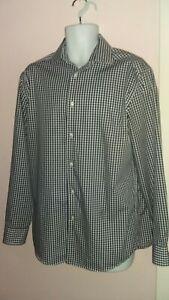 "Mens TU 16"" Collar Pure Cotton Blue Check Shirt 100% Cotton"