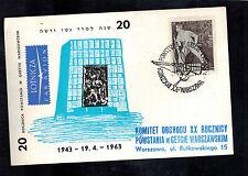 1963 Warsaw Poland Postcard Cover Ghetto Uprising Anniversary