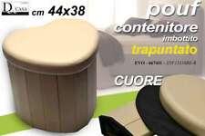 POUF CONTENITORE IMBOTTITO TRAPUNTATO BEIGE CUORE 44X38 CM EVO-667411