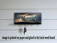 "Keys Key Rack Holder Organizer 8""x3""  on Wood Board Blessed Farmhouse Style"