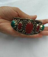 ANTIQUE Ancient Victorian Silver Bracelet Bangle Cuff Turquoise coral Stones