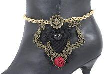 Women Vintage Gold Chain Boot Bracelet Shoe Charm Anklet Black Lace Steam Punk