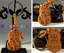 Chinese classical fine wooden carving zodiac chicken key chain
