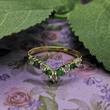 9ct Yellow Gold Emerald & Cubic Zirconia Wishbone Ring